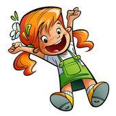 Fotografia ragazza felice e simpatico cartone animato saltando felicemente stretching, mani e gambe