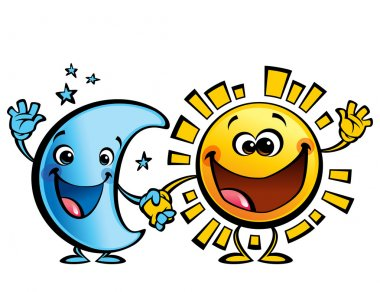 Sun and moon best friends baby cartoon characters