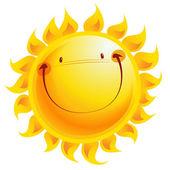 šťastný žlutá usmívá slunce kreslená postavička