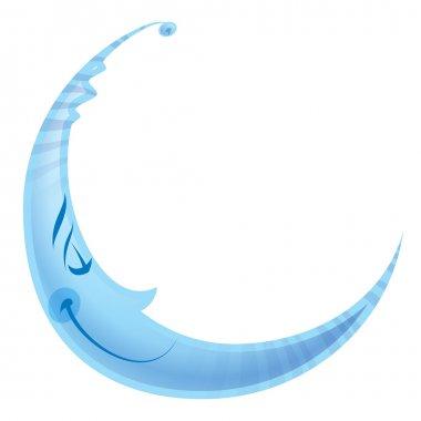 Happy cyan smiling sleeping moon cartoon character night concept