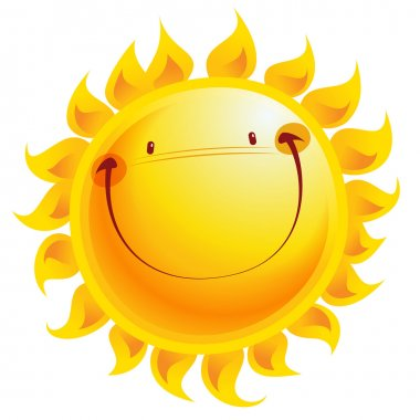 Happy yellow smiling sun cartoon character