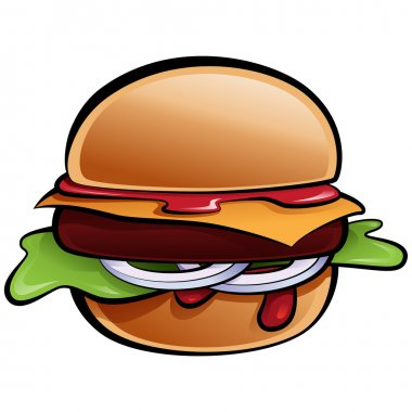 Cartoon delicious classic American cheese burger with vegetables