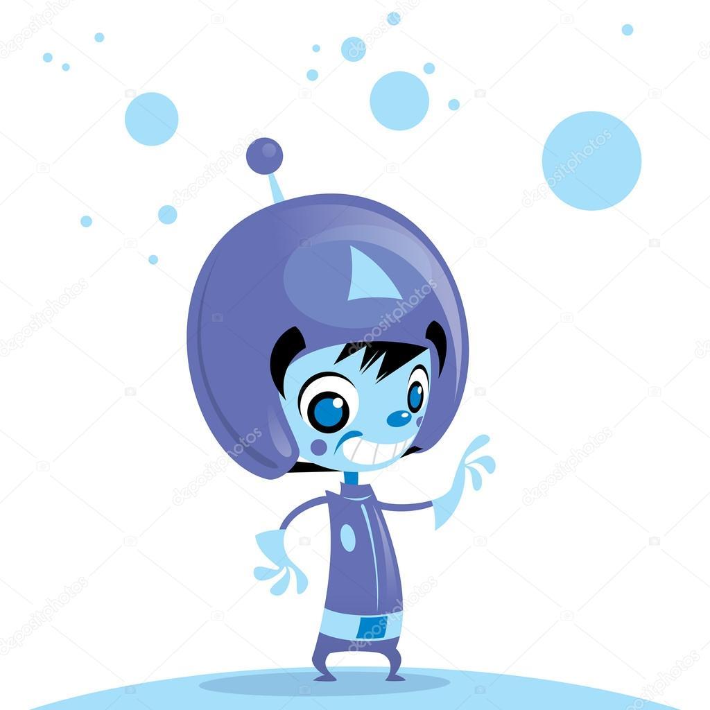Felice e simpatico cartone animato spaceman aliena nello