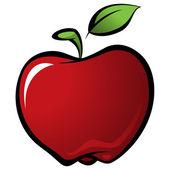 Fotografia mela fresca di lucido vettore rosso delizioso cartone animato con foglia verde