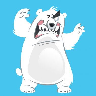 Angry and funny cartoon white polar bear making attacking gestur