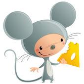 Fotografia felice ragazzo sorridente Cartoon, indossando divertente Carnevale topo formaggio co