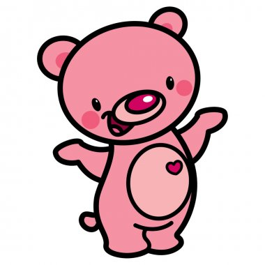 Cartoon vector cute pink happy lovely baby bear with heart