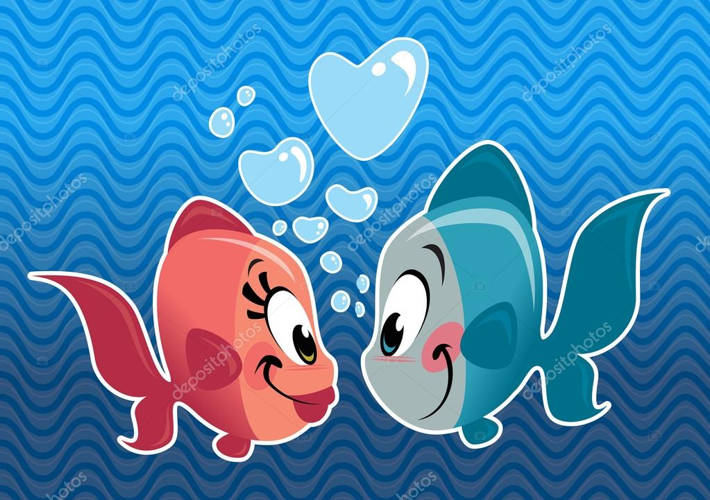 Two cartoon cute fishes couple falling in love stock for I love the fishes