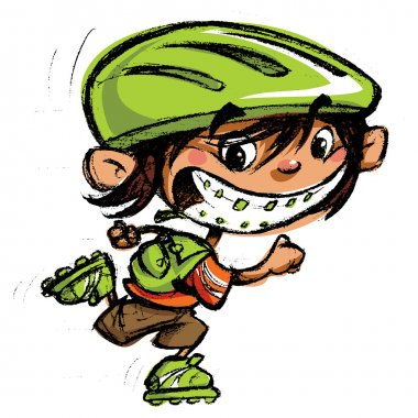 Cartoon happy boy crazy braces smiling skating with roller blade
