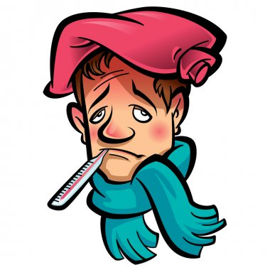 Patient sad man with thermometer in his mouth indicating high temperature green scarf and red ice bag on his head clip art vector
