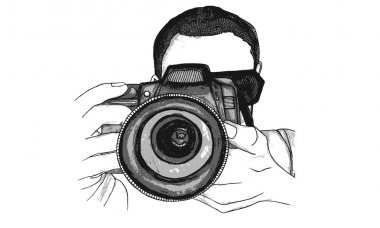 Vector Illustration of a Photographer Taking a Picture with a Digital Camera