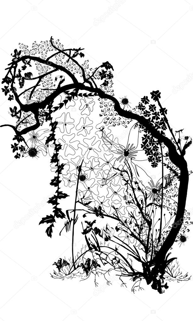 Vector Illustration of a Tree in an Overgrown Forest