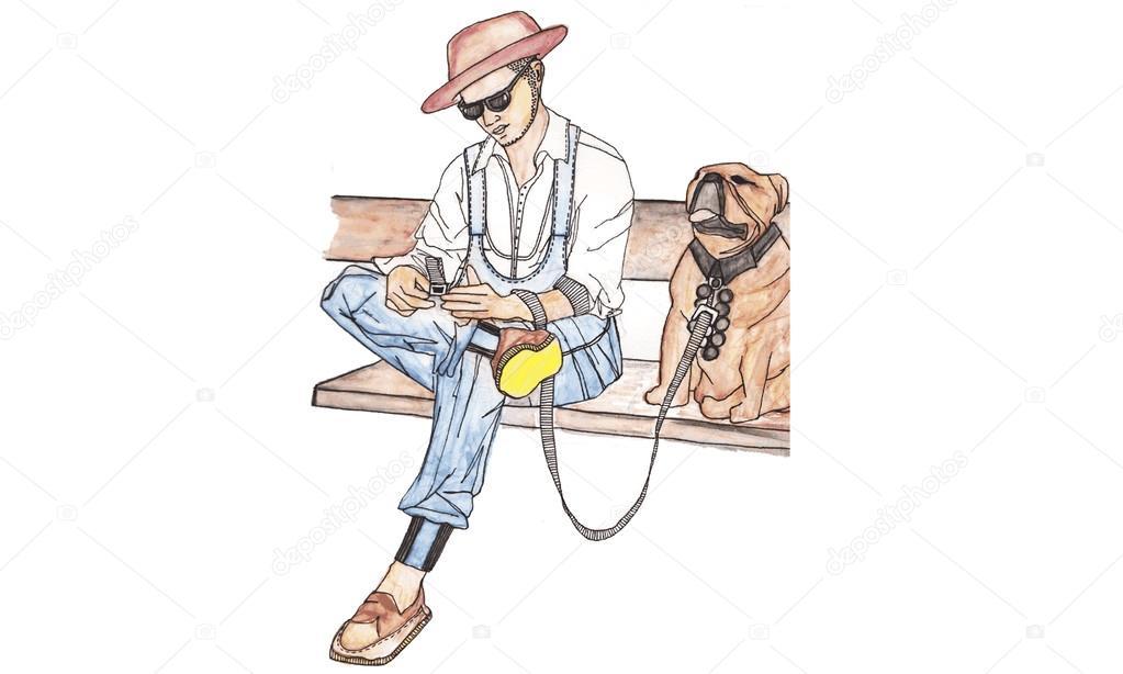 Tezgah Manifatura Ile Köpek üzerinde Oturan Adam Vektör Suluboya