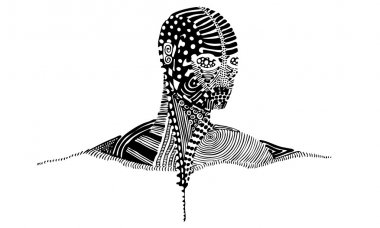A black and white vector EPS illustration of a person's head and shoulders covered with patterns