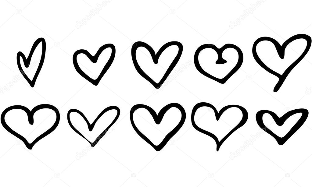 Isolated Vector Set of 10 Hand Drawn Hearts