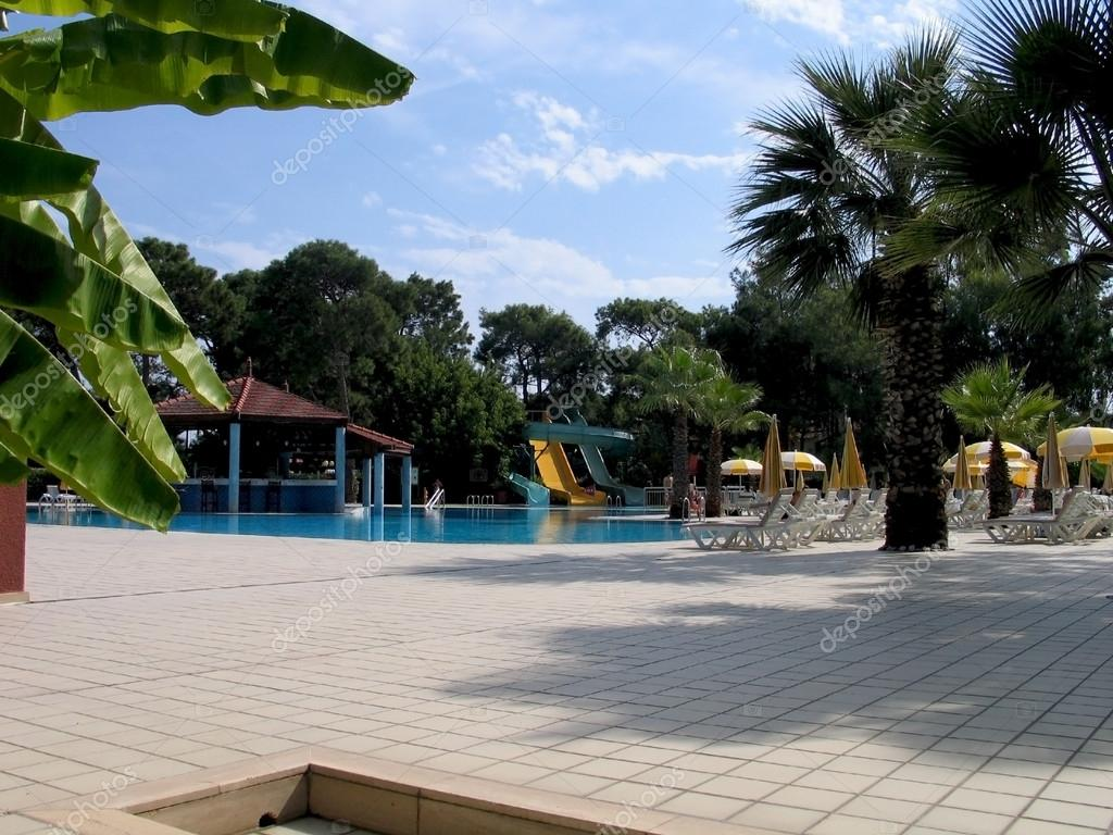 Poolside of tropical water park