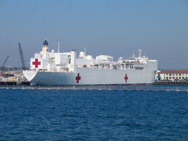 Naval hospital ship Mercy at San Diego bay