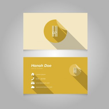 Simple Business Card Template with Alphabet Letter H