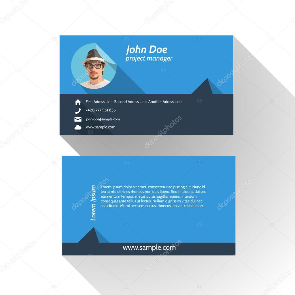 Simple Modern Light Business Card Template - Flat Design — Stock ...