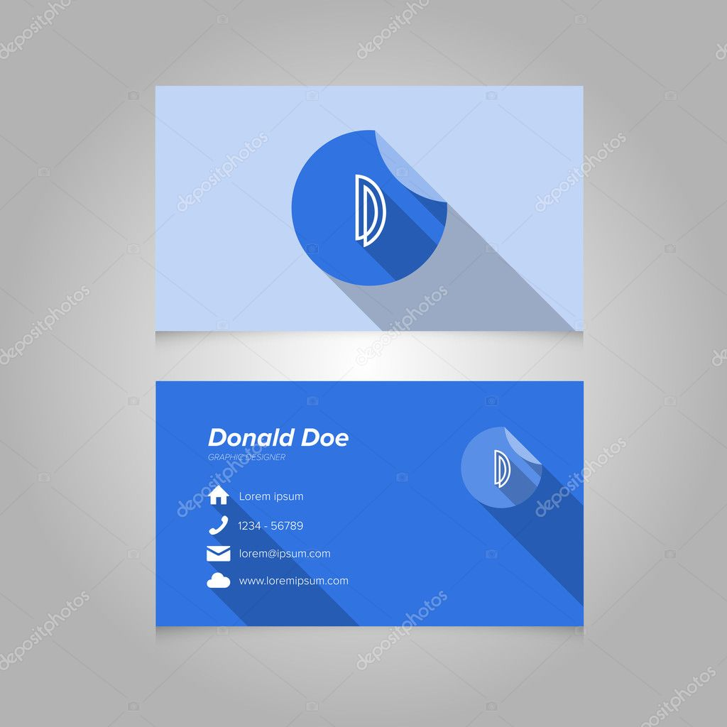 Simple Business Card Template With Alphabet Letter D Stock - Simple business card template