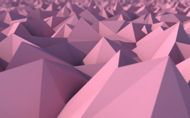 Abstract Pink Low Poly 3d Background with Depth of Field Effect