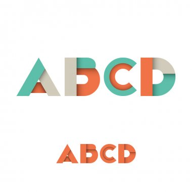 A B C D Modern Colored Layered Font or Alphabet - Vector Illustration stock vector