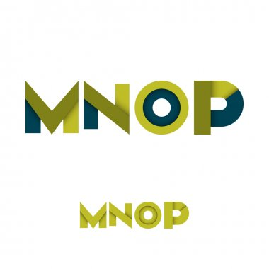 M N O P Modern Colored Layered Font or Alphabet