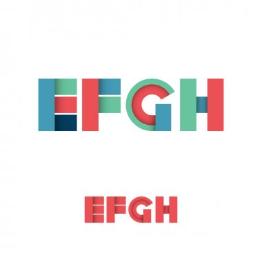 E F G H Modern Colored Layered Font or Alphabet