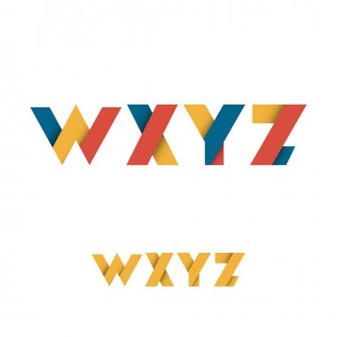 W X Y Z Modern Colored Layered Font or Alphabet