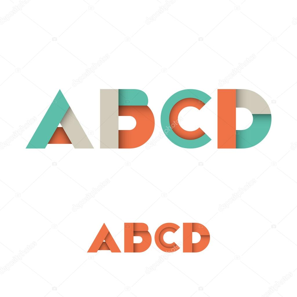 A B C D Modern Colored Layered Font or Alphabet