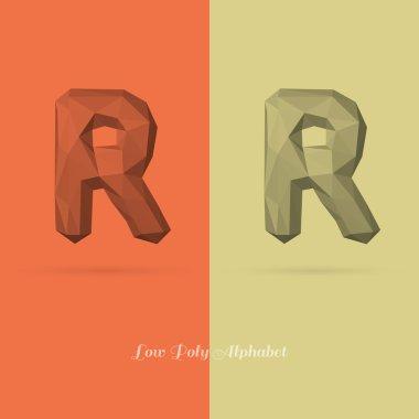 Polygonal Flat Alphabet Letter R
