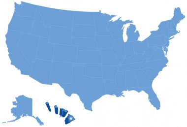 Map of States of the United States where Havai is pulled out