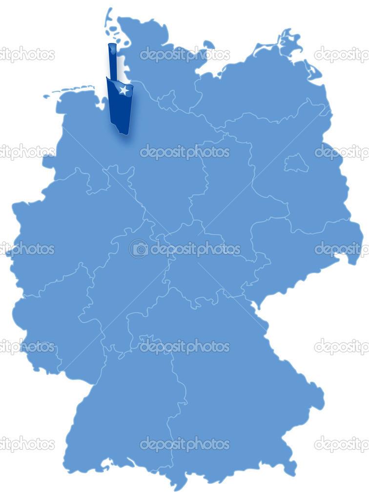 Map of Germany where Bremen (Freie Hansestadt Bremen) is ...