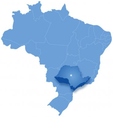 Map of Brazil where Sao Paulo is pulled out