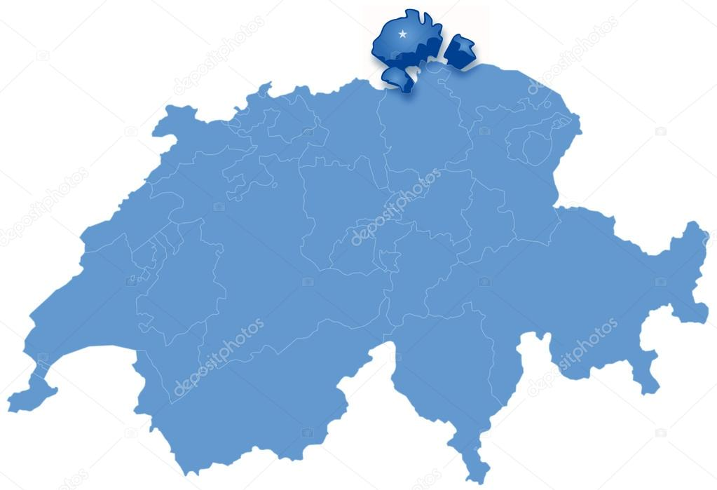 Map of Switzerland where Schaffhausen is pulled out Stock Vector