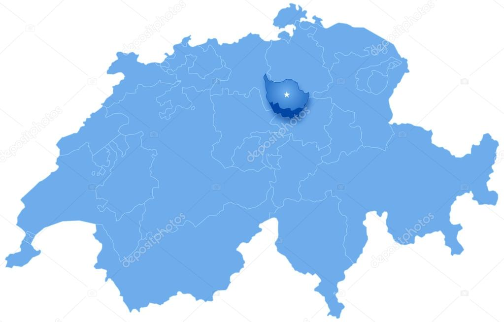 Map of Switzerland where Zug is pulled out Stock Vector