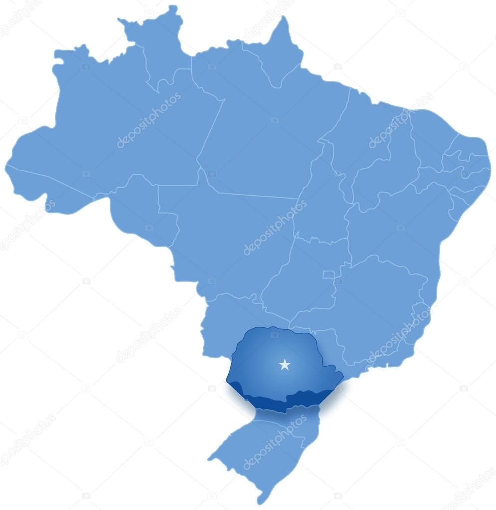 paraná brasil mapa mapa do Brasil onde o Paraná é puxado para fora — Vetor de Stock  paraná brasil mapa