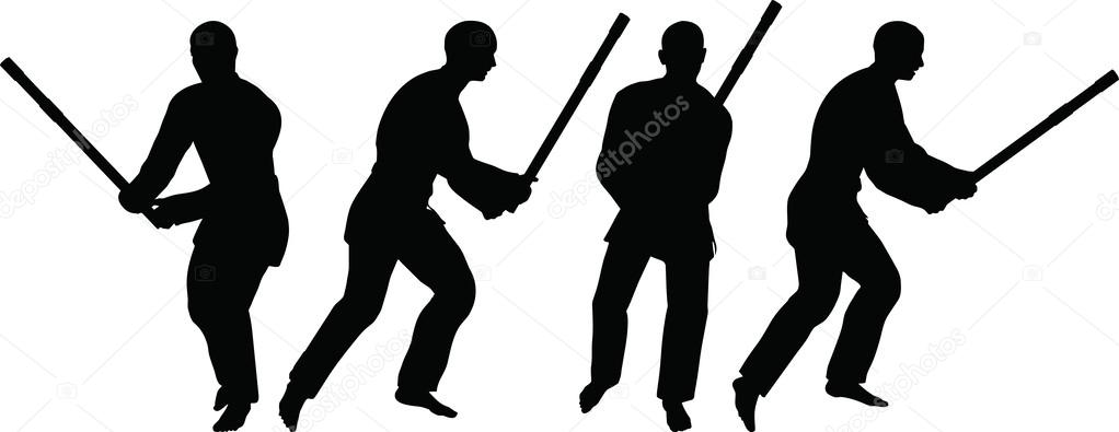 Karate martial art silhouettes of men and women in sword fight karate poses