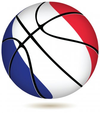 Basketball ball with France flag on white.