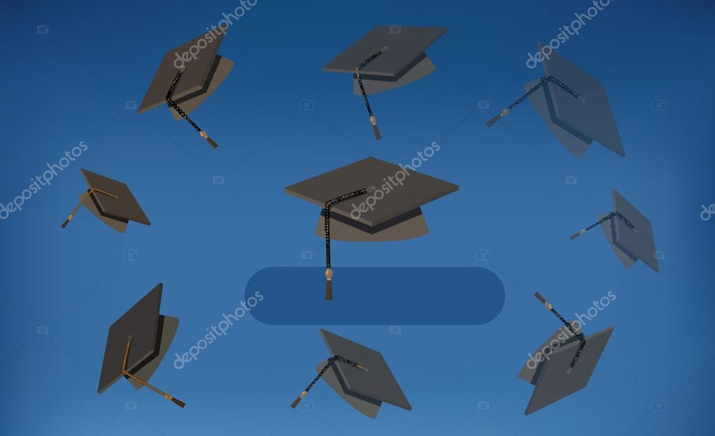 Graduation Caps - Black Mortarboards Thrown in the Air