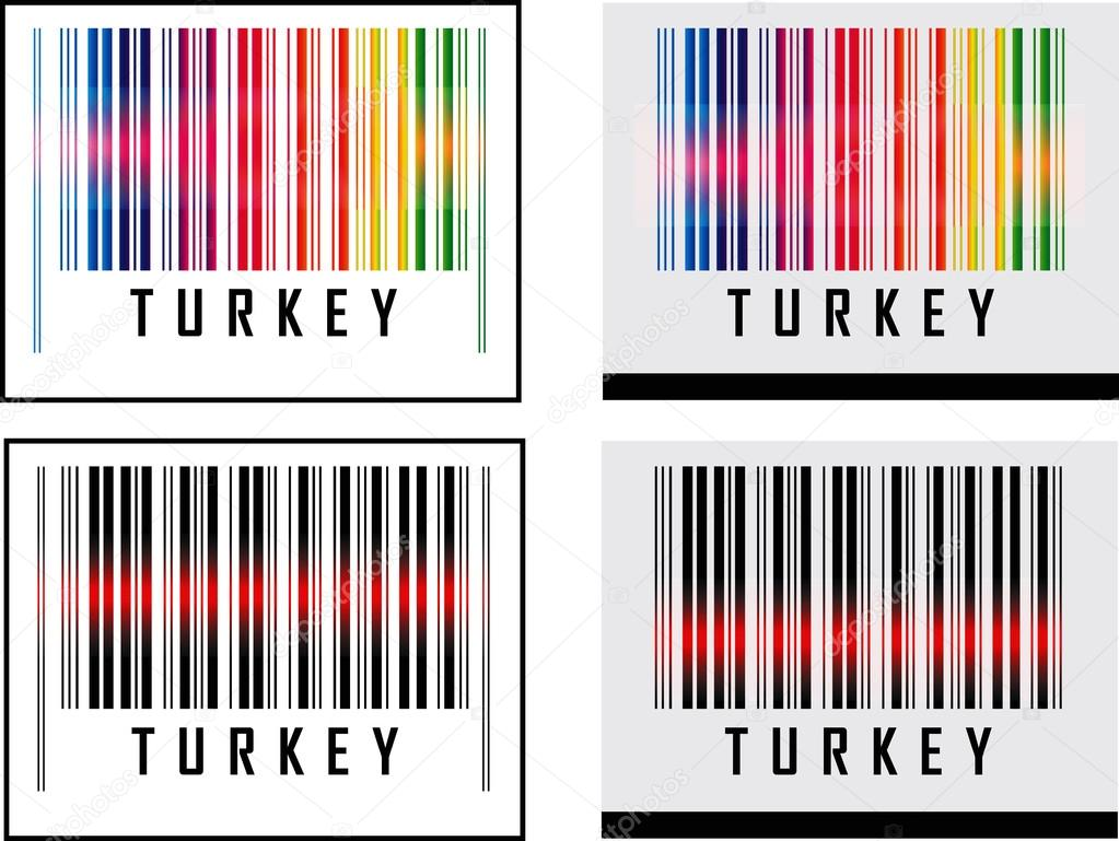Bar Code icon and red laser sensor beam over Turkey