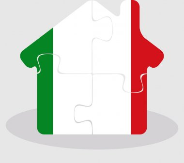 house home icon with Italy flag in puzzle