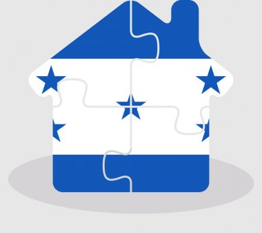 house home icon with Honduras flag in puzzle