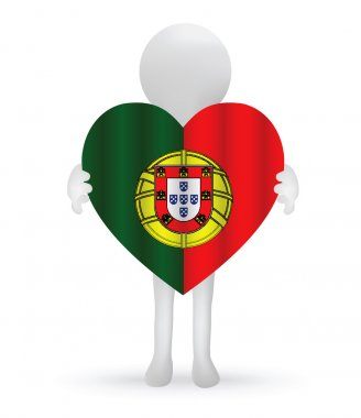 Small 3d man holding a Portuguese Flag