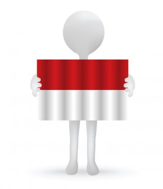 Small 3d man holding an Indonesian Flag