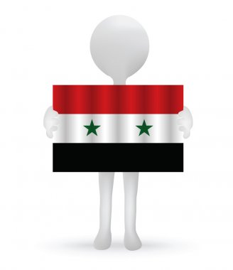small 3d man holding a Syrian Flag
