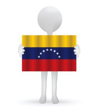 Small 3d man holding a Venezuelan Flag
