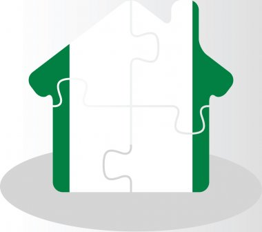 house home icon with Nigerian flag in puzzle isolated on white b