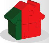 ház otthon ikon portugál zászló elszigetelt fehér puzzle