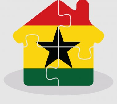 house home icon with Ghanaian flag in puzzle isolated on white b